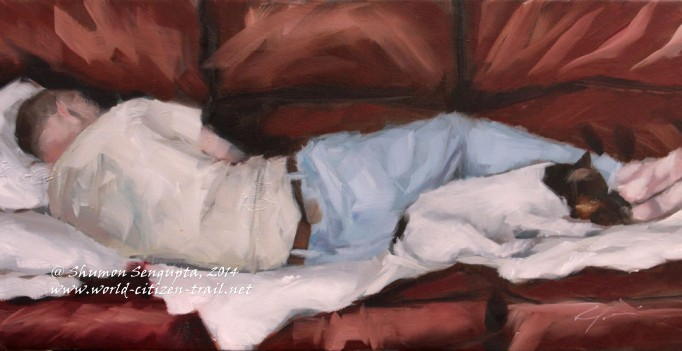 Sleeping White and Brown Jack Russell Dog and Man in Tan Shirt on Burgundy Couch by Clair Hartmann